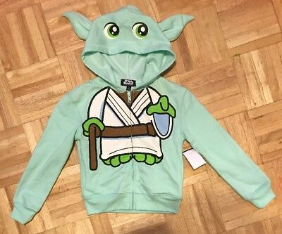 Star Wars Character Hoodie Yoda Hooded Sweatshirt Shirt Green Kids Girls XS 4/5