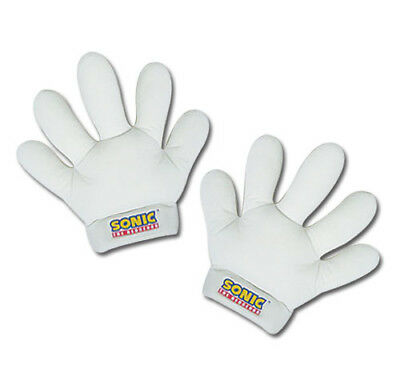 """1x New Official Sonic the Hedgehog White Cosplay 11"""" Plush Soft Gloves (GE-8805)"""