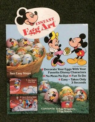 Vtg 1980s Disney Instant Egg Art -Easter Egg Decorating Wraps (12) Mickey Minnie