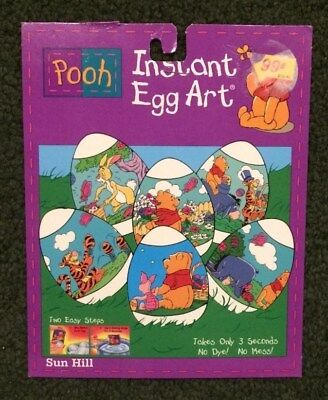 Vtg 1980s Disney Instant Egg Art -Easter Egg Decorating Wraps (12) Pooh