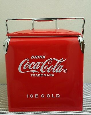 COCA-COLA Coke Retro Cooler. ICE CHEST Carrier with Bottle Opener