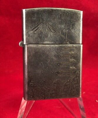 Sterling Silver Japanese Cigarette Lighter Tower Mountain Volcano WWII