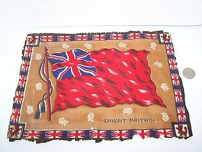 c.1915 GREAT BRITAIN FLAG FLANNEL CIGARETTE PACK TOBACCO FELT ANTIQUE 11.5x8.75