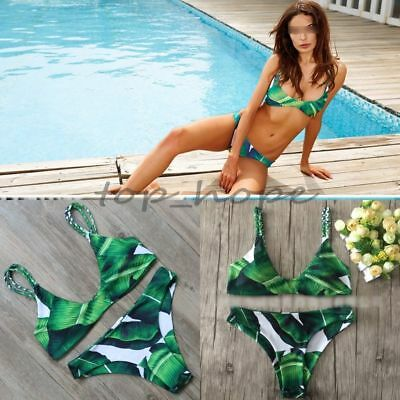 Green Leaf Printed Bikini Set Swimsuit Push-Up Padded Bra Swimwear Beach Wear