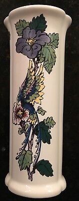 Royal Haeger Usa Pottery Ceramic Vase Purple Blue Green Bird Flower Dundee Il