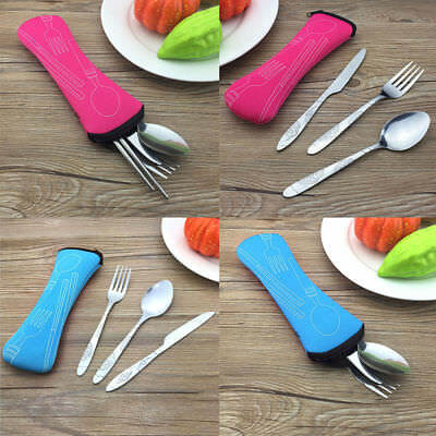 3PCS Stainless Steel Knife Fork Spoon Bag Travel Camping Cutlery Portable Hot