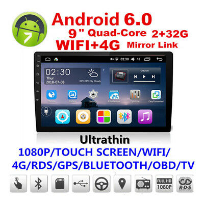 Wifi 4G 2Din Touch Screen Quad-Core Car Stereo Radio GPS BT DAB Mirror Link OBD