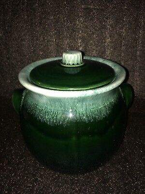 "8""x6 Hull Ovenproof Pottery Large Green Drip Frosted Pot"