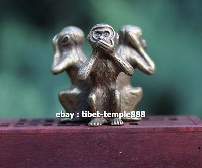 4 CM Pure Bronze Chinese Zodiac Animal 3 Don't Monkey conjoined Statue Amulet