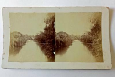 Antique STEREO PHOTOGRAPH. TUMUT RIVER c1900's- TUMUT, NSW  Snowy Mountains