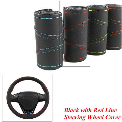 38cm Black with Red Line PU Leather Hand Sewing Car Steering Wheel Protect Cover