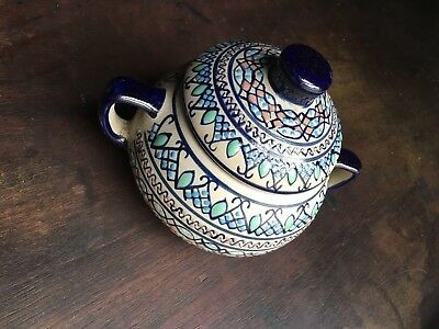 Sugar Bowl High Fired Ceramic Pottery Mexico JAVIER SERVIN Geometric Moroccan