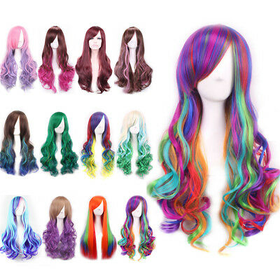 Long Curly Wavy Rainbow Wig Women Girl Cosplay Costume Full Wig Party Pink Red