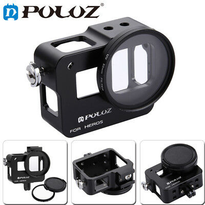 PULUZ Housing Aluminum Alloy Protective Cage w 52mm UV Lens for GoPro 6 /5 Case