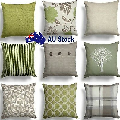 """2018 Green Lime Natural Cream Cushion Covers 18"""" x 18""""  Cover Collection AU"""