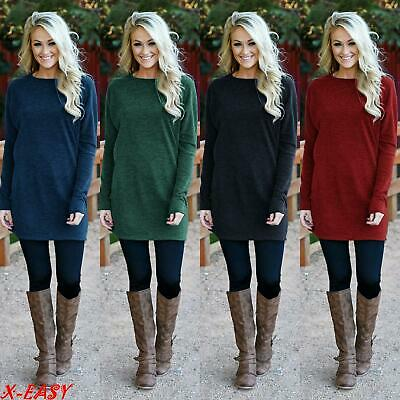 UK Plus Women Long Sleeve Knitted Ladies Sweatshirt Mini Dress Pullover Top 8-24
