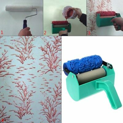 EMBOSSED PAINT ROLLER Wall Texture Stencil Brush Embossed