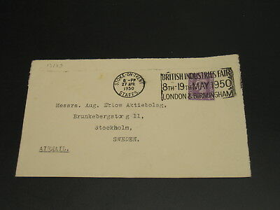 UK 1950 slogan cancel on airmail cover to Sweden *13179