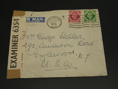 UK 1943 censored airmail cover to USA faults *13205