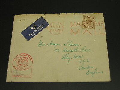 UK 1945 censored airmail cover rough top edge *13148