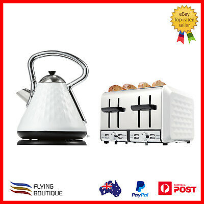 1.7L Pyramid Kettle & 4 Slice Toaster Cordless Automatic Electric Jug Retro Set