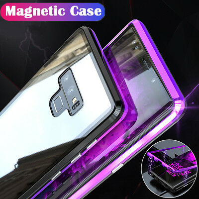 Magnetic Adsorption Metal Bumper Glass Case Cover for Samsung Galaxy Note 9 8