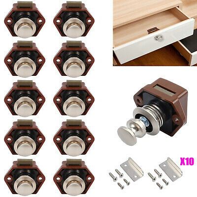 10x Button Push Drawer Cupboard Door Catch Lock RV Caravan Cabinet Latch Knob AU