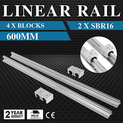 SBR16-600 mm 2 x Linear Rail 4 x Bearing Block Routers Unique Lathes BRAND NEW
