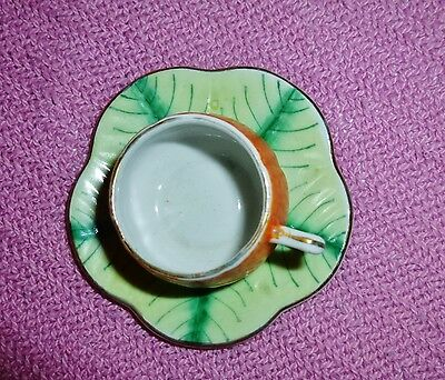 VINTAGE Miniature Tea Cup and Saucer MADE IN JAPAN Hand Painted LEAF free SHIP