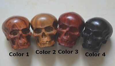 Sandalwood  Carved Skull Statue Decor Carving Wood Pendant Chain Art Sculpture