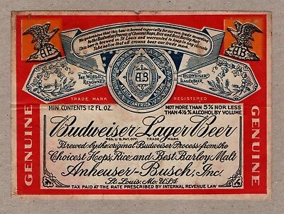 Anheuser-Busch, Inc. St. Louis. - Budweiser Lager Beer - old USA IRTP label