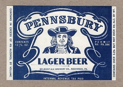 Belmont Ale Brewery Co., Rockwood, PA - Pennsbury Lager Beer - IRTP label