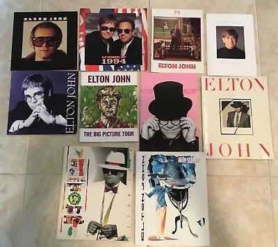 Lot (10) Vintage Original Rare Elton John Concert Programs Europe Usa London
