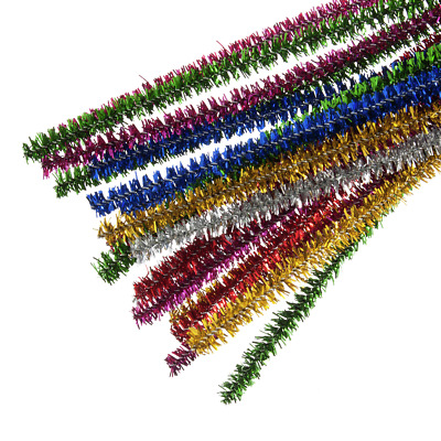 Mixed Tinsel Chenille Sticks Pipe Cleaners 6mm x 30cm Trimits Crafts Pack of 20