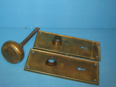 Vintage Antique  door knob & 2 matching brass face plates