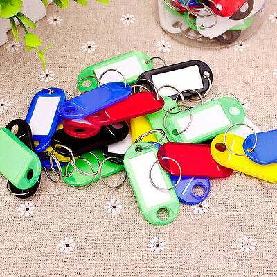 30Pcs*Coloured Key Rings Fobs ID Tags Cards Name Labels Office Luggage Plas X4T0