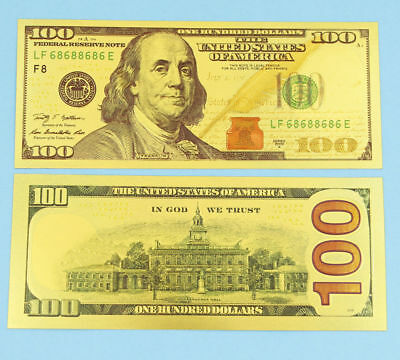 Hot New Style 1PCS 24K Gold Foil Banknotes $100 Home Decor Collections Gifts