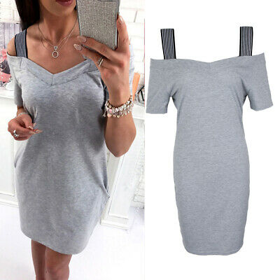 Womens Holiday Solid Gray Dress Ladies Off Shoulder Strap Summer Beach Dress