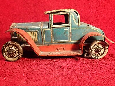 1920-s ? ANTIQUE VINTAGE WIND UP TIN TOY CAR DUNLOP CORD MADE IN GERMANY GERMAN