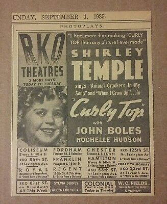 1935 Shirley Temple in Curly Top Movie Ad