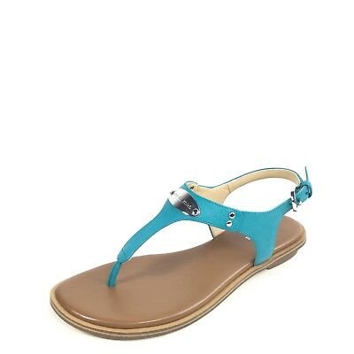 ace28f36f8bfd9 Michael Kors Plate Thong Womens Size 6 M Tile Blue Flat T-strap Sandals