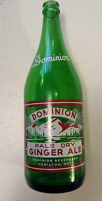 """Canadian (Hamilton) """"dominion Pale Dry Ginger Ale""""30 Oz Green Bottle-Red & White"""