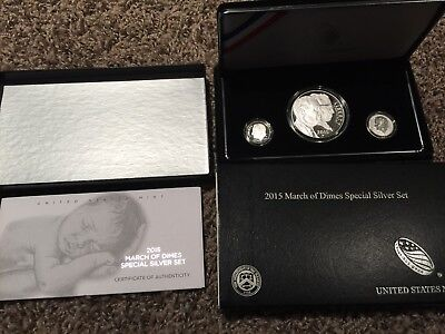 2015 W March Of Dimes 3 Coin Proof Silver Set With Ogp & Coa Reverse Proof Dime