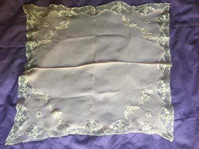 Exquisite Antique Silk Original French Alencon Lace Hanky Collectible 19C