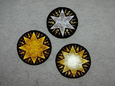 Beautiful Stained glass.STARS.Hand painted.Kiln fired.Diameter-60 & 65mm.