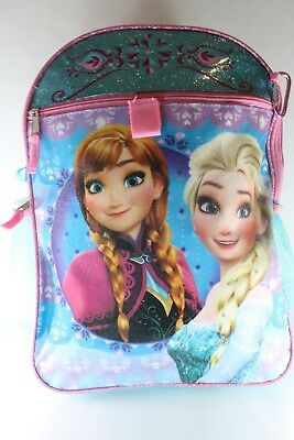 """Disney Frozen Backpack Anna and Elsa 5 Pieces w/ snack tote, Utility Case - 16"""""""