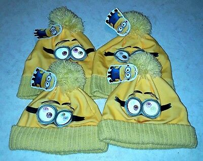 BNWT Job Lot of 4 Yellow Minions Childrens Winter Hats with Pom Poms RRP £56