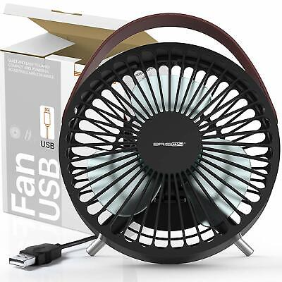 """7"""" Mini USB Desk Fan Small Quiet Table Personal Air Cooling Fan LED Time Clock"""