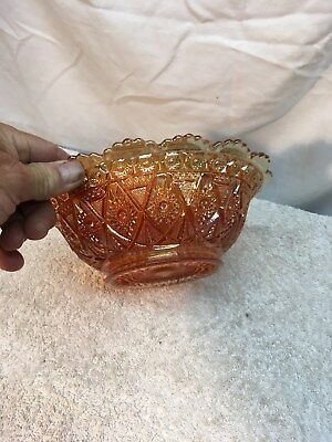 "Vintage Imperial Diamond Lace Carnival Glass  Yellow 8 1/4"" Bowl 1st addition"