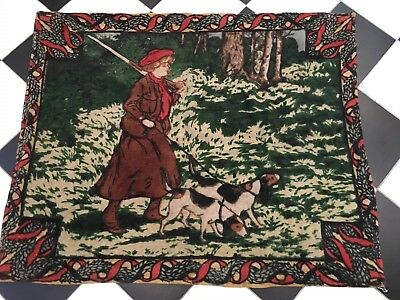 Antique Chase Carriage Sleigh Robe Lap Blanket of Woman Walking Hunting Dogs